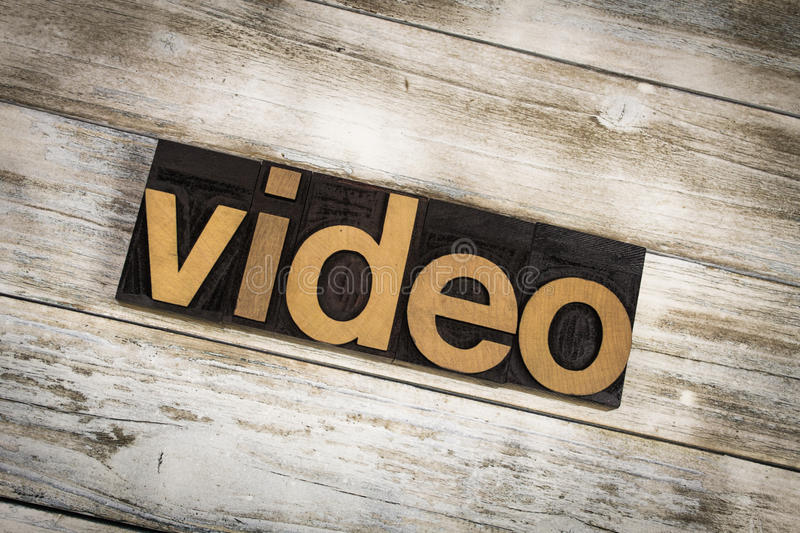 Video Letterpress Word on Wooden Background royalty free stock image