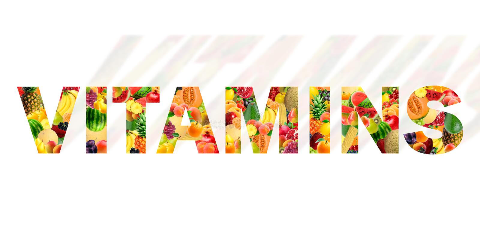 The word vitamins made with the most varied fruits stock photo