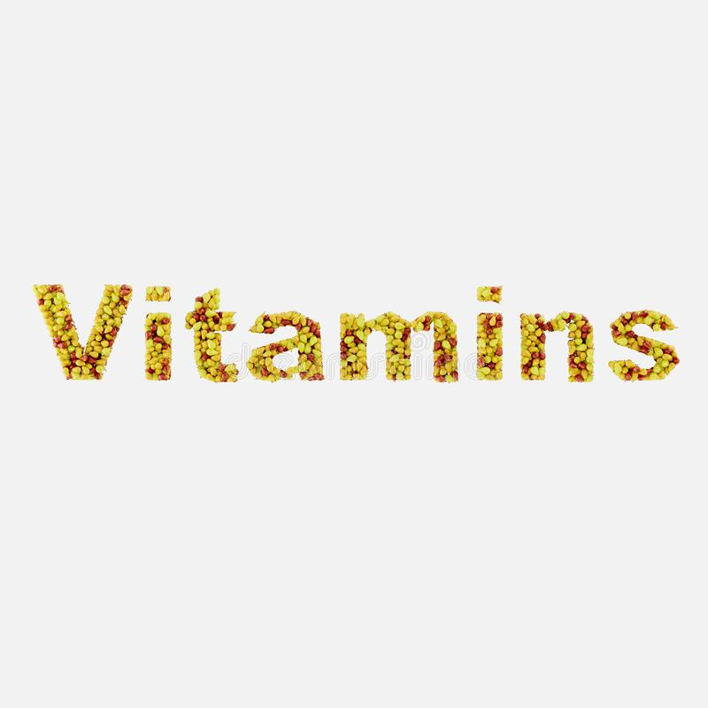 The word vitamins is written from pears on a white background 3d rendering. The word vitamins is written from pears on a white background stock illustration