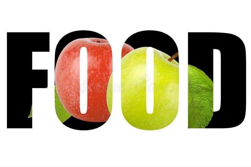 Word VOEDSEL over groene en rode die appel met blad op witte B wordt geïsoleerd stock foto's