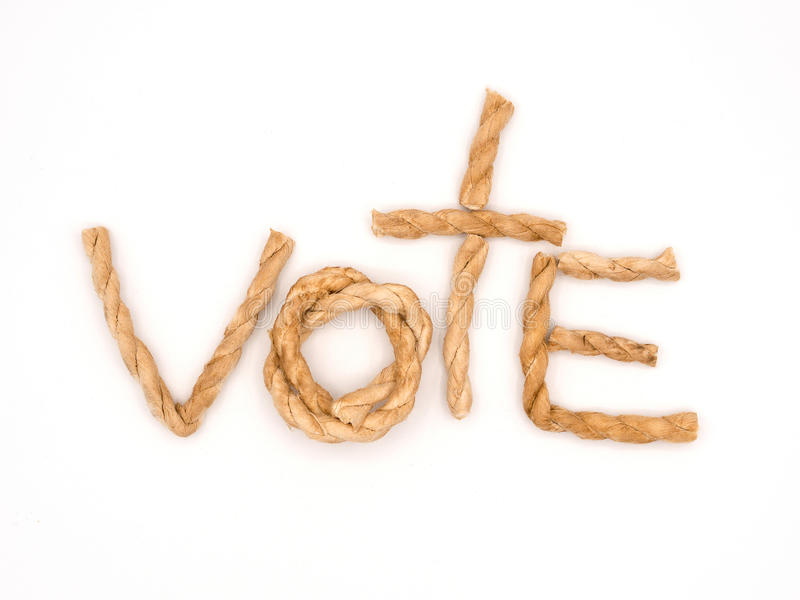 The word vote place in the center of the frame by pieces of brow stock photo
