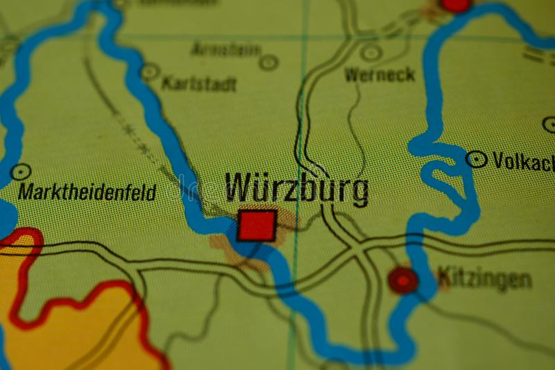 The Word WRZBURG On The Map Stock Image Image of travel graphic