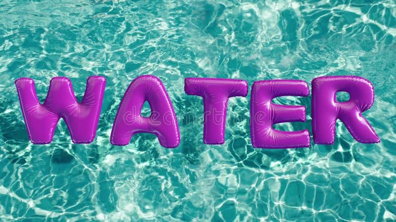 Word ` WATER ` vormde opblaasbaar zwemt ring die in een verfrissend blauw zwembad drijven vector illustratie