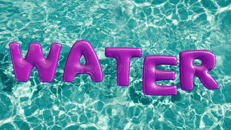 Word ` WATER ` vormde opblaasbaar zwemt ring die in een verfrissend blauw zwembad drijven stock illustratie