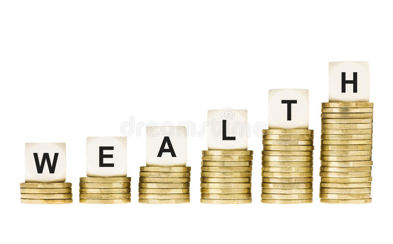 Word WEALTH on Row of Gold Coin Stacks Isolated White stock images