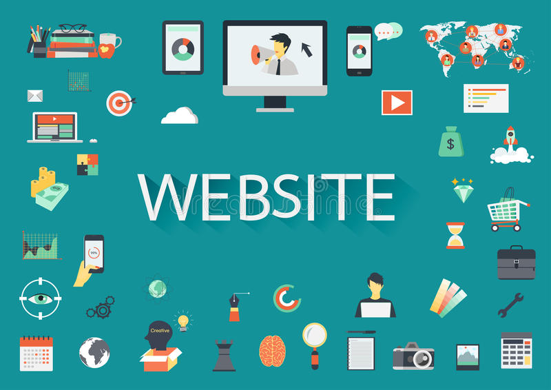 Word WEBSITE door verwante vlakke pictogrammen wordt omringd dat stock illustratie