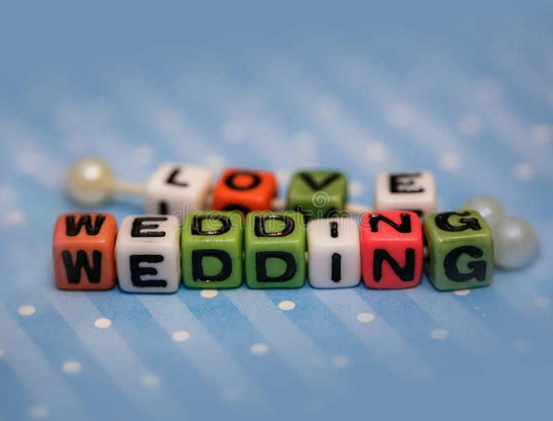 Word wedding and love royalty free stock photo