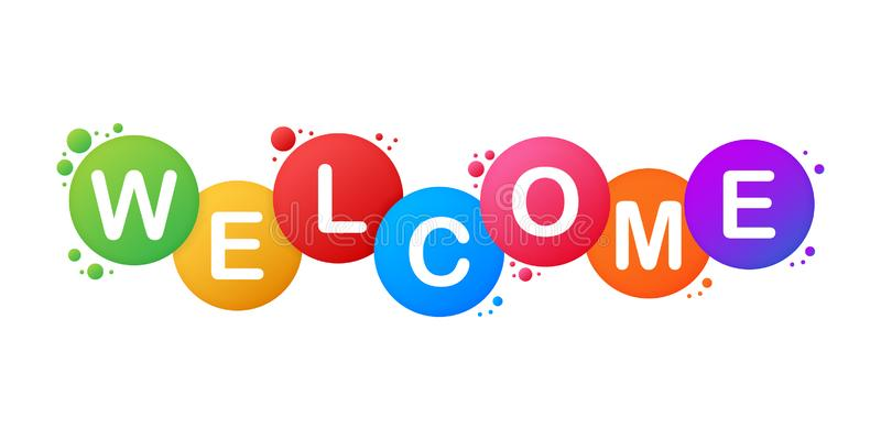 The Word Welcome. Vector Banner With The Text Colored Rainbow. Vector Stock  Illustration Stock Vector - Illustration of happy, festival: 151723492