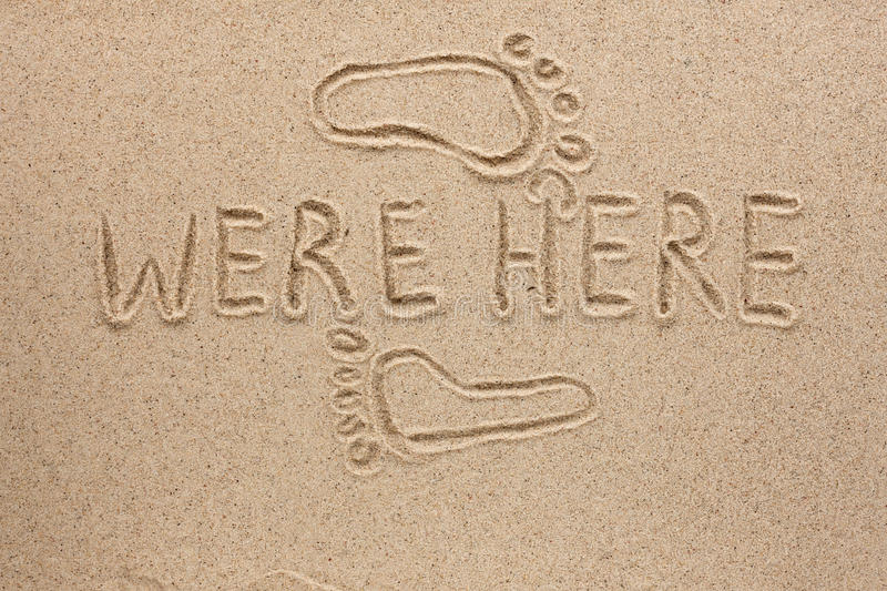 Download The Word Were Here Written On The Sand Stock Image - Image: 29960403