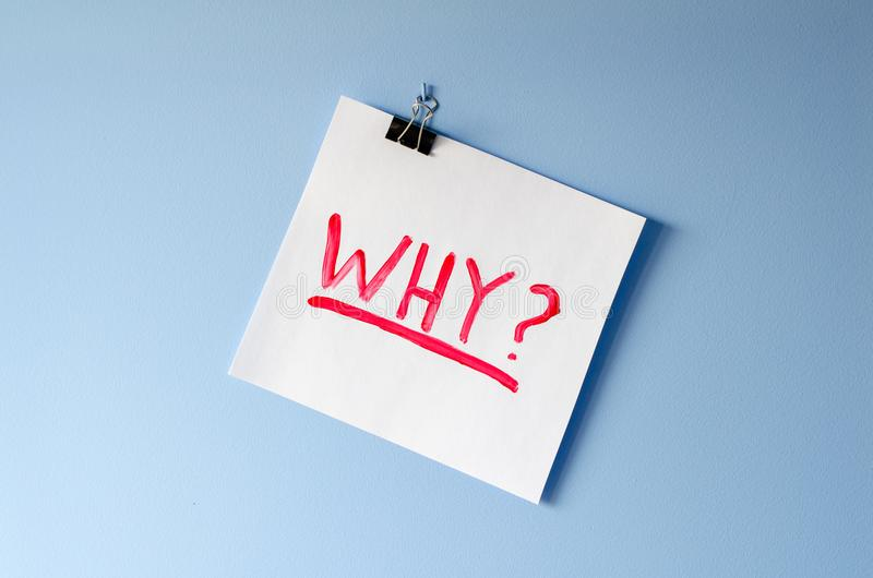 The word Why on white paper sheet asking for help in solving a m. Ystery and finding a reason for overwhelming stress and anxiety stock photography