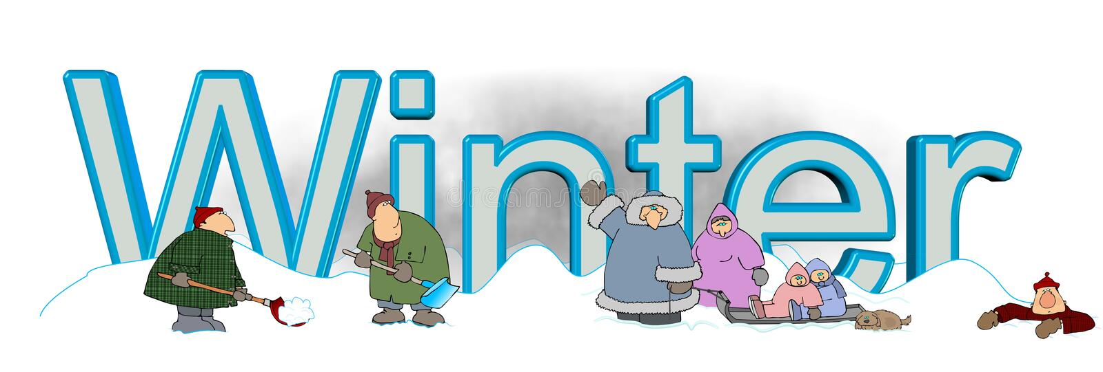 The word Winter with people playing in the snow vector illustration
