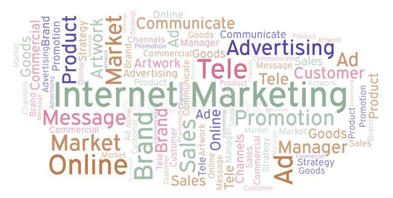 Word wolk met de Marketing van tekstinternet stock illustratie