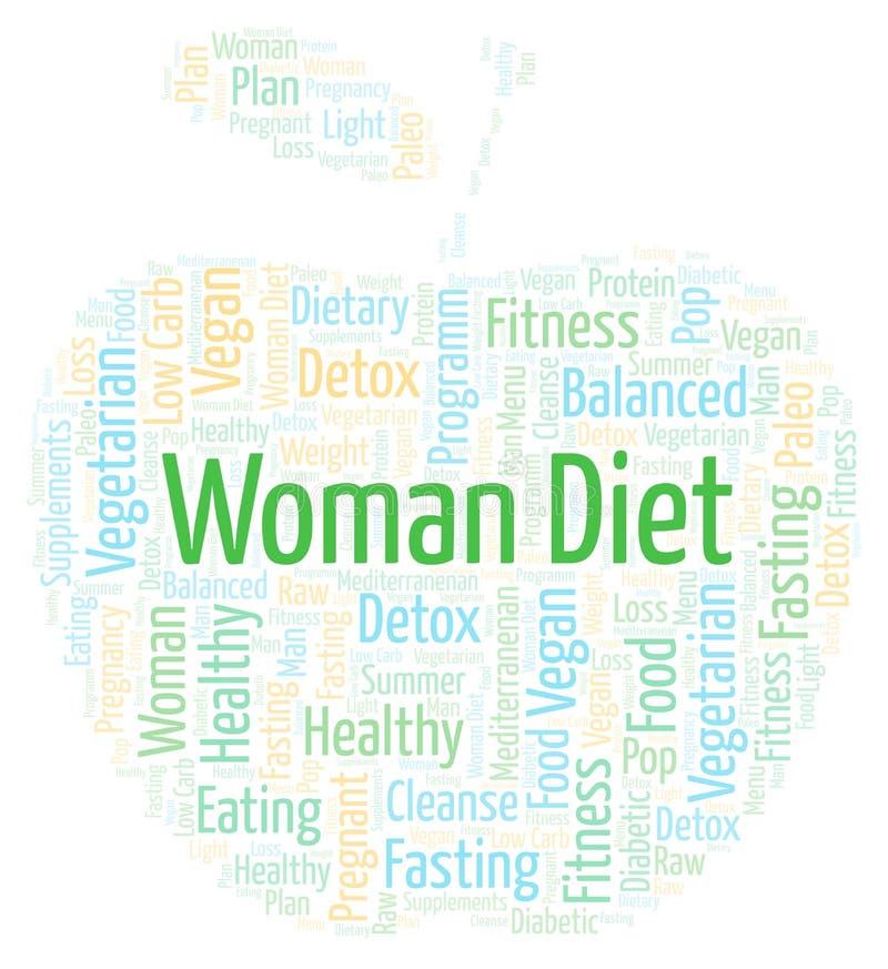 Word wolk met het Dieet van de tekstvrouw in een vorm van appel op een witte achtergrond royalty-vrije illustratie