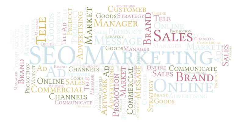 Word wolk met tekst SEO Marketing royalty-vrije illustratie
