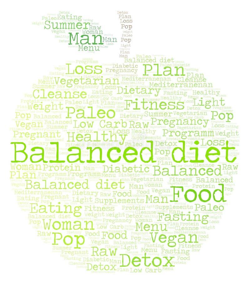 Word wolk met tekstuitgebalanceerd dieet in een appelvorm op een witte achtergrond stock illustratie