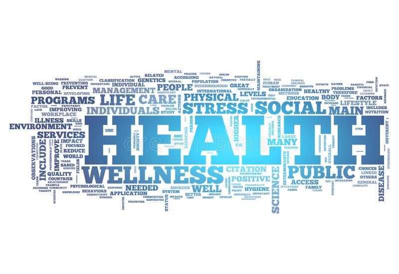 Word Wolkengezondheid stock illustratie