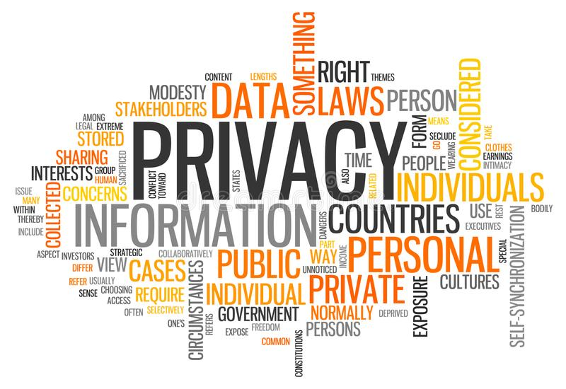 Word Wolkenprivacy royalty-vrije illustratie