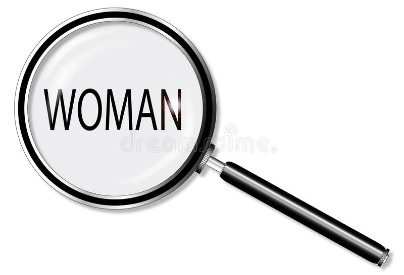 The Word Woman Under A Magnifying Glass On White. A magniying glass exanining woman over a white background vector illustration