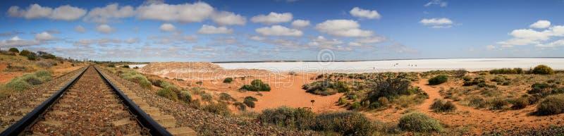 Panoramic view on the salt Lake hart near the railtrack, Woomera, South Australia, Australia. The word woomera is an Australian indigenous word of the Dharug stock photo