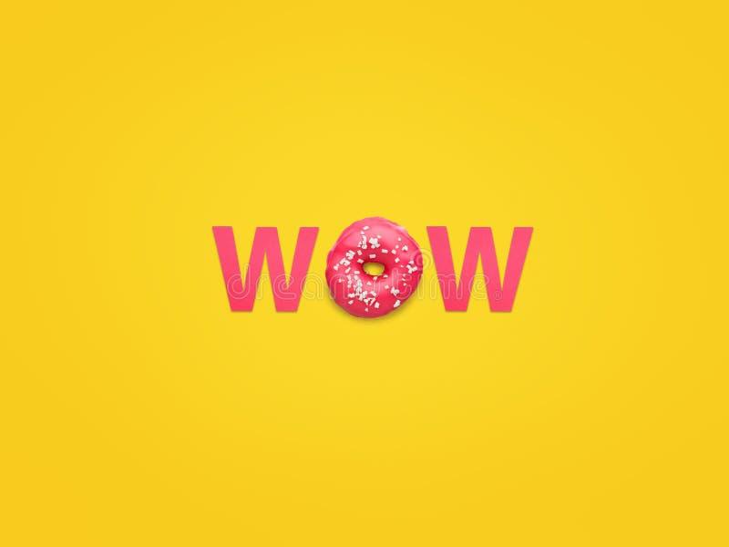 Word wow fait avec le beignet image libre de droits
