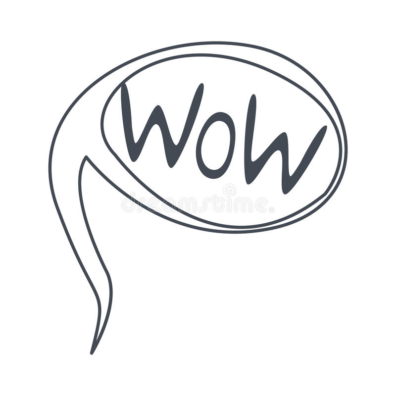 word wow hand drawn comic speech bubble template isolated black rh dreamstime com