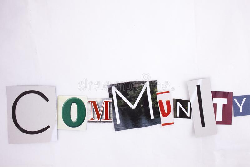 A word writing COMMUNITY made of different magazine newspaper letter magazine different letters for Business concept. Word writing COMMUNITY made of different royalty free stock images
