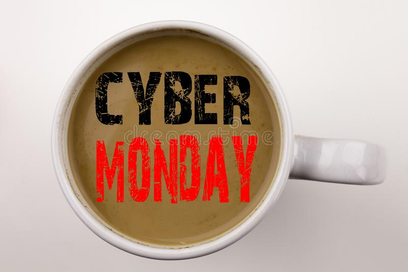 Word, writing Cyber Monday text in coffee in cup. Business concept for Retail Shop Discount on white background with copy space. B. Word, writing Cyber Monday stock photo