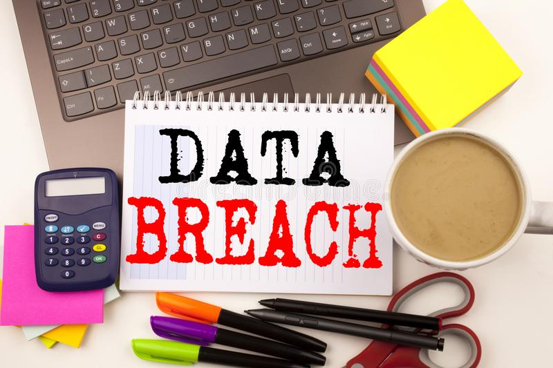 Word writing Data Breach in the office with surroundings such as laptop marker pen stationery coffee Business concept for Tech Int. Ernet Network Breaking into stock photos