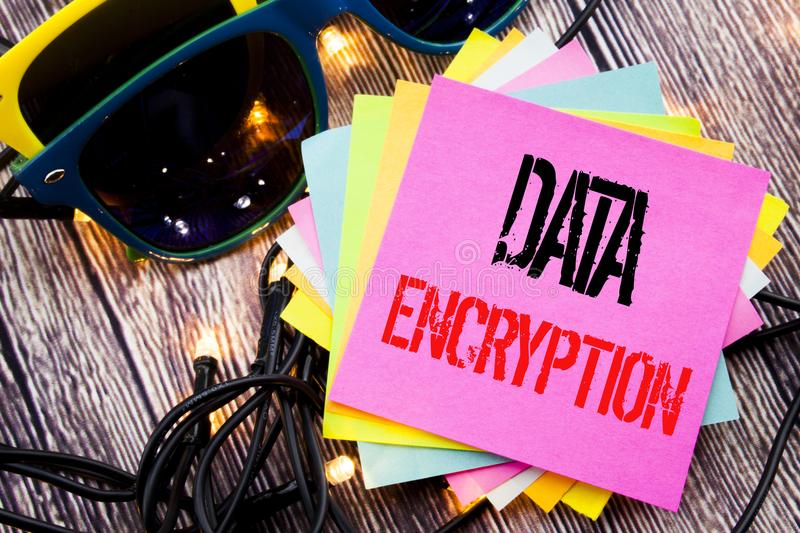 Word, writing Data Encryption. Business concept for Information Security written on sticky note with copy space on old wood wooden. Word, writing Data Encryption royalty free stock image