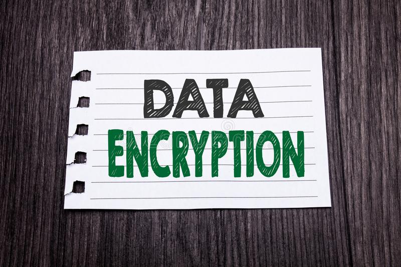 Word, writing Data Encryption. Business concept for Information Security written on sticky note paper on the dark wooden backgroun. Word, writing Data Encryption stock image