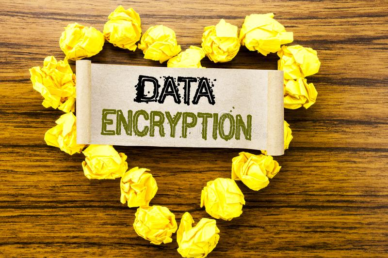 Word, writing Data Encryption. Business concept for Information Security written on sticky note paper on the dark wooden backgroun. Word, writing Data Encryption stock photos