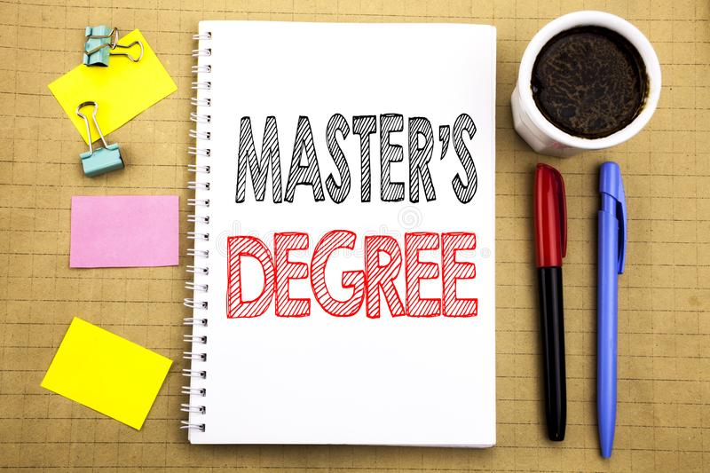 Word, writing Master s Degree. Business concept for Academic Education Written on notepad note paper background with space office royalty free stock images