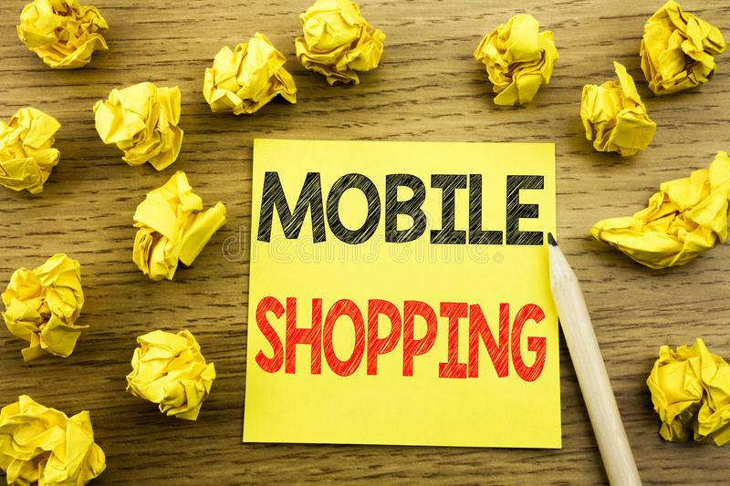 Word, writing Mobile Shopping. Business concept for Cellphone online order written on sticky note paper on the wooden background. Word, writing Mobile Shopping stock image