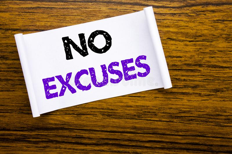 Word, writing No Excuses. Business concept for Stop Ban for Excuse written on sticky note paper on the wooden wood structure visib royalty free stock image