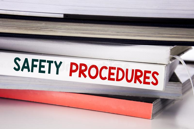 Word, writing Safety Procedures. Business concept for Accident Risk Policy written on the book on the white background. Word, writing Safety Procedures stock image