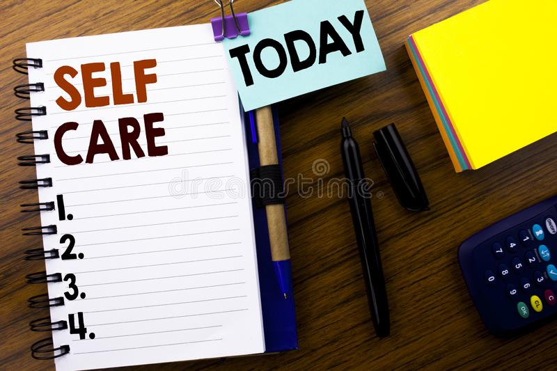 Word, writing Self Care. Business concept for Taking caring for own Health written on book note paper on the wooden background. Wi. Word, writing Self Care stock photography
