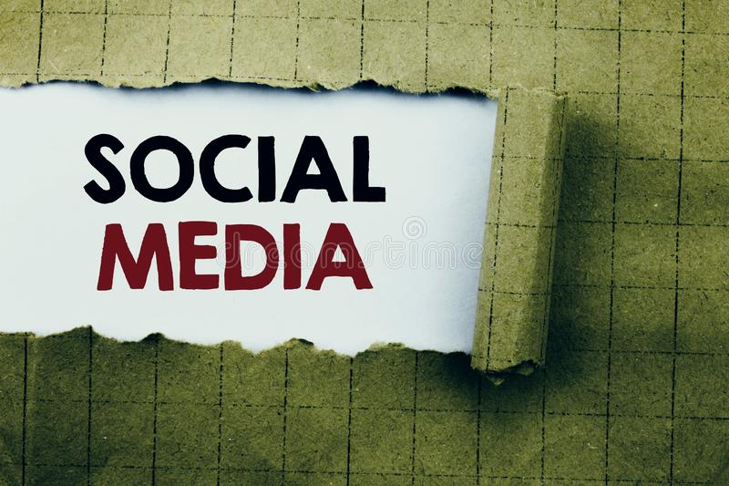 Word, writing Social Media. Business concept for Community Social Media written on white paper on the yellow folded paper. Word, writing Social Media. Business royalty free stock images