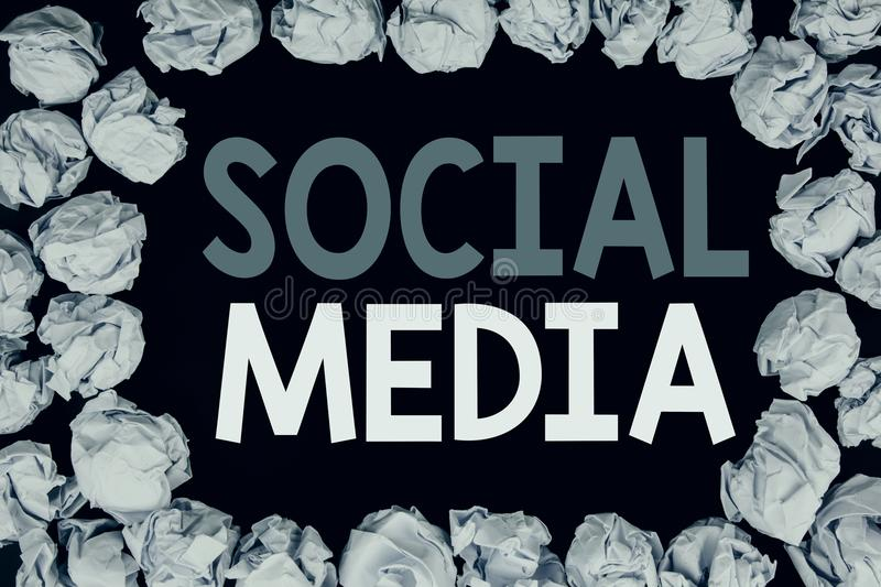 Word, writing Social Media. Business concept for Community Social Media written on black background with copy space on old backgro. Word, writing Social Media stock image