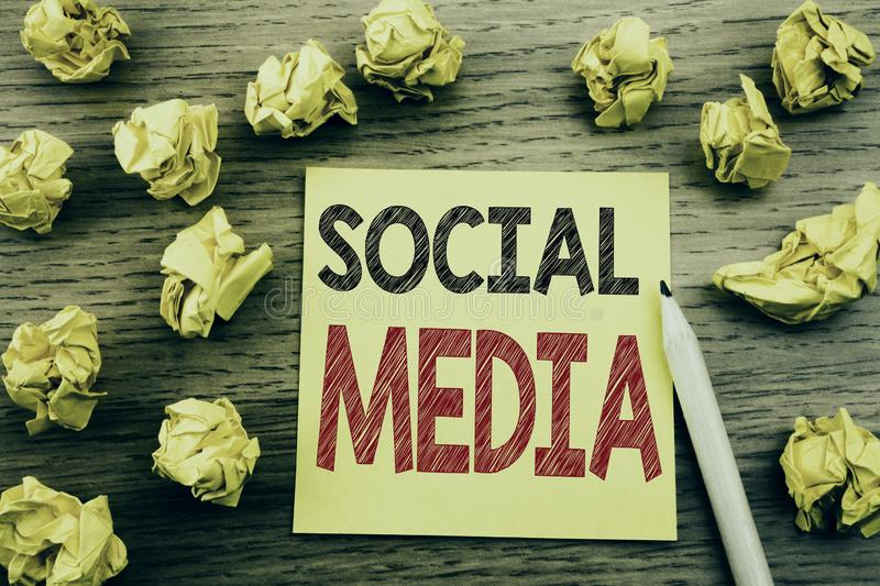 Word, writing Social Media. Business concept for Community Social Media written on sticky note paper on the wooden background. Fol. Word, writing Social Media royalty free stock image