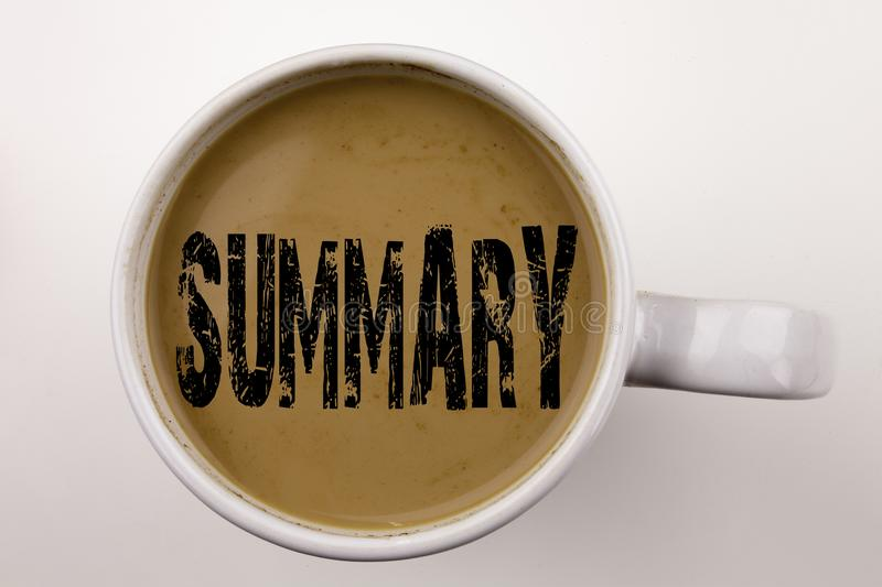 Word, writing Summary text in coffee in cup. Business concept for Brief Review Business Overview on white background with copy spa. Ce. Black text stock photography