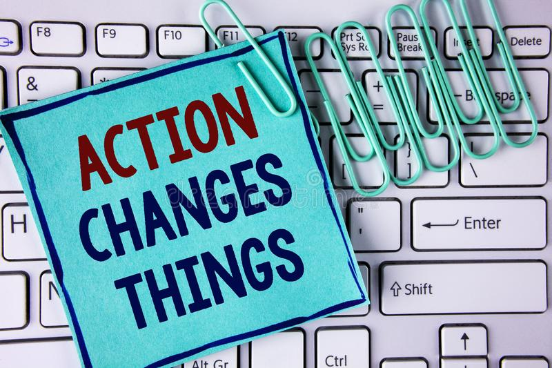 Word writing text Action Changes Things. Business concept for doing something is like chain Improve Reflects written on Sticky Not. Word writing text Action stock photos
