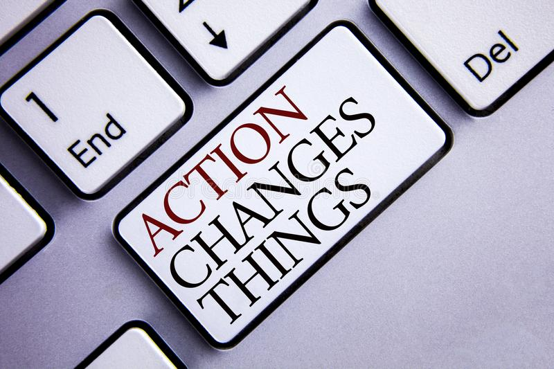 Word writing text Action Changes Things. Business concept for doing something is like chain Improve Reflects written on White Keyb. Word writing text Action royalty free stock image