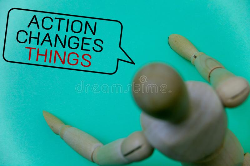 Word writing text Action Changes Things. Business concept for improve yourself Do not stand still Let's do it Cyan background rob. Ot imaginations idea message royalty free stock images