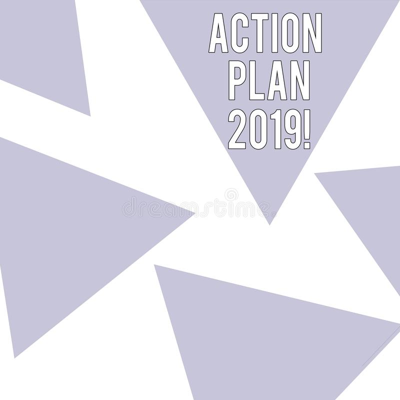 Word writing text Action Plan 2019. Business concept for Challenge Ideas Goals for New Year Motivation to Start. Word writing text Action Plan 2019. Business stock illustration