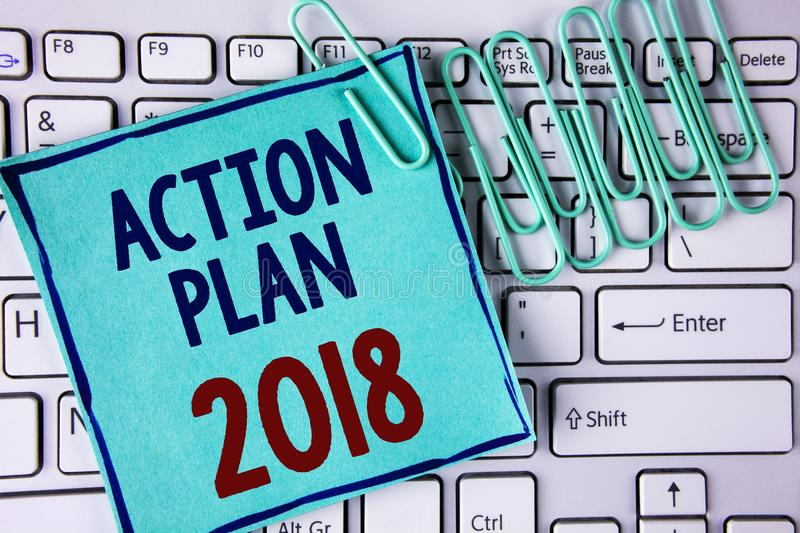 Word writing text Action Plan 2018. Business concept for to do list in new year New year resolution goals Targets written on Stick. Word writing text Action Plan royalty free stock photo
