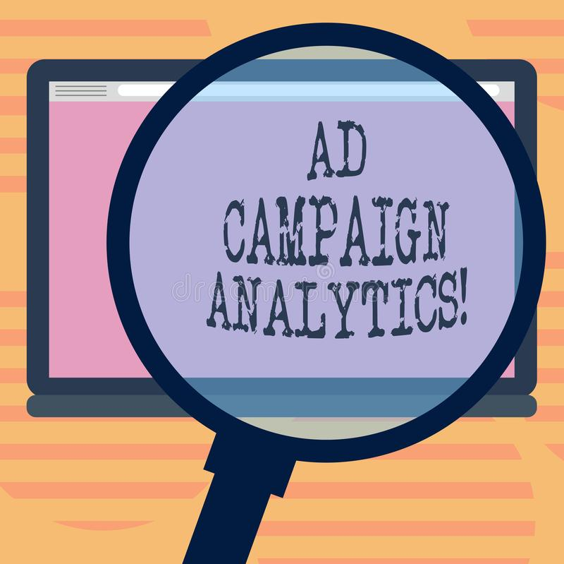 Word writing text Ad Campaign Analytics. Business concept for monitor campaigns and their respective outcomes Magnifying. Glass Enlarging Tablet Blank Color stock illustration