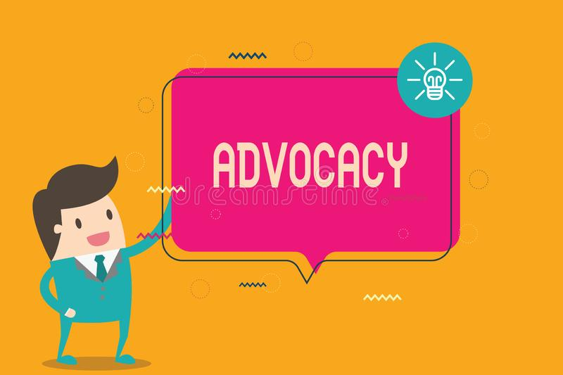 Word writing text Advocacy. Business concept for Profession of legal advocate Lawyer work Public recommendation.  stock illustration