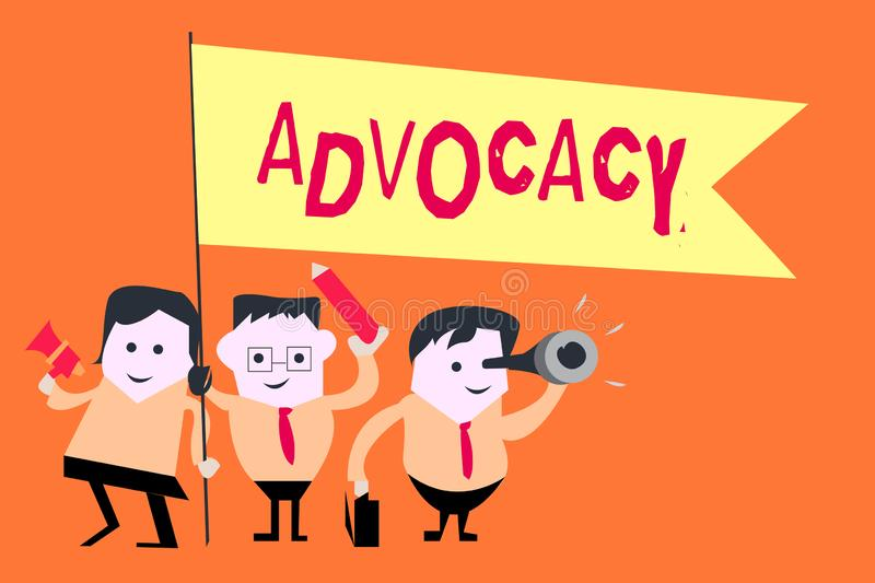Word writing text Advocacy. Business concept for Profession of legal advocate Lawyer work Public recommendation.  vector illustration