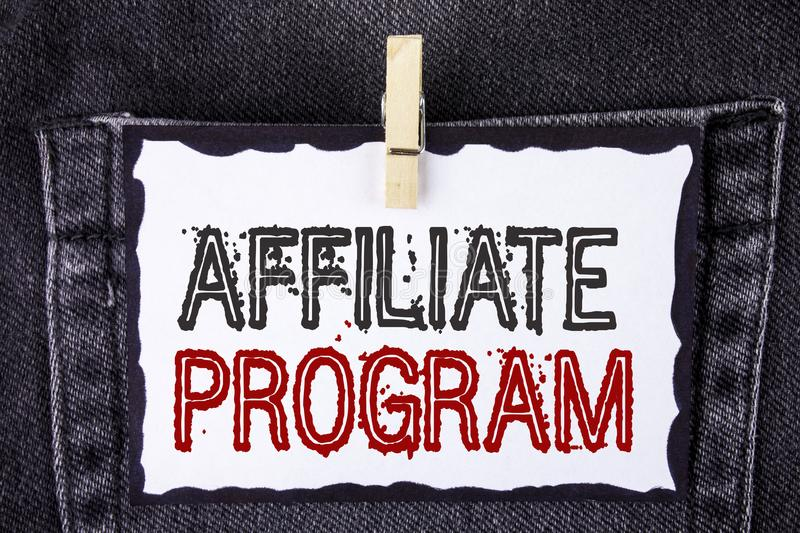 Word writing text Affiliate Program. Business concept for software link songs apps books and sell them to earn money written on Wh. Word writing text Affiliate royalty free stock images