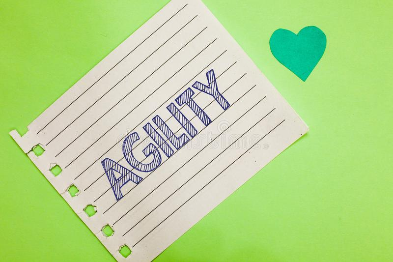 Word writing text Agility. Business concept for Ability to move think understand quickly and easily Fast development Notebook piec. E paper reminder heart stock photography